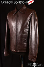 SKYFALL Mens Movie Leather Jacket Inspired By Movie Brown Wrinkled Reproduction