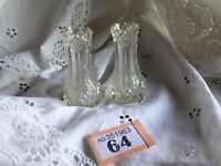 "Antique Pair Of  Miniature Cut Glass Vases / Toothpick Holders Victorian (3""H)"
