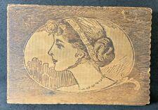 Pyrography Portrait Hinged Box Antique Art Nouveau Deco Lady Wood Burner