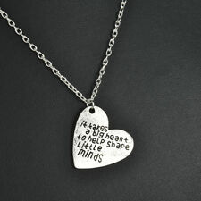 Vintage Love Heart Pendants Teachers Necklace Gifts Jewelry Silver Tone Chain