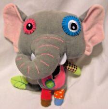 """Pecoware Eco Snoopers 8"""" gray Corduroy toy Elephant plush Patchwork Quilt"""