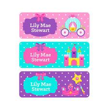 School Name Labels, Waterproof, Daycare Labels, Camp, Princess Crown, Castle