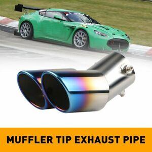 Burnt Blue Car Muffler Tip Dual Exhaust Pipe Tail Universal Adjustabl For Pickup