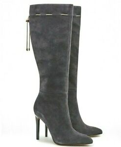 French Connection Grey Knee High Leather Boots Monika Suede Heeled 8 41 £180 NEW