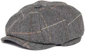 FEINION Men Tweed Newsboy Cap 8 Panel Wool Blend Flat Hat