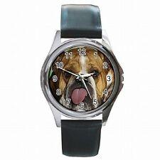 English Bulldog Funny Puppy Dog Accessory Leather Watch New!