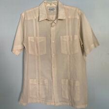 Vintage Renato Collezione Men's L Retro Beige Button Up Collared Bowling Shirt