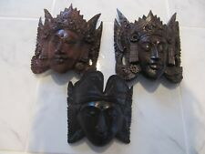 HAND CARVED WOOD FACE MASKS WALL ART HOME DECOR HANGING BRAND NEW EXCELLENT COND