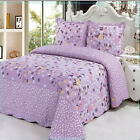 Purple Floral Queen King Bed Quilted Bedspread Coverlet Throw Blanket 100%Cotton