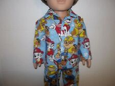 "Paw Patrol 2 piece  pajamas fits 18"" American  girl and boy doll"