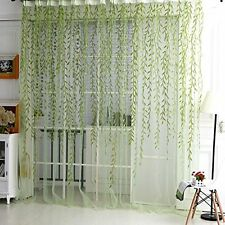 Door Window Curtain Floral Tulle Voile Drape Panel Sheer Scarf Valances 100*200