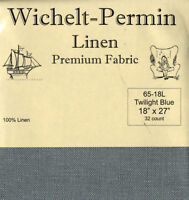 Wichelt Permin PREMIUM LINEN FABRIC 32 Count Cross Stitch 18 x 27 TWILIGHT BLUE