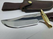 "CUSTOM JN COOPER KNIFE IN LEATHER SHEATH WOOD AND BRASS HANDLE 10 1/4"" / 5 1/4"""