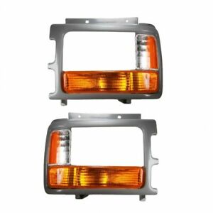 Corner Parking Light w/ Bezel Trim Pair Set for 91-96 Dodge Dakota Pickup Truck