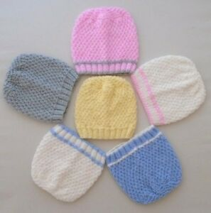 0-3 Months Baby Girls Boys Hat Hand Knitted Pink White Blue Grey Lemon