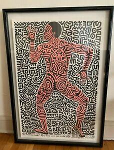 "Keith Haring Signed ""INTO 84"" Poster Tony Shafrazi Gallery Rare"