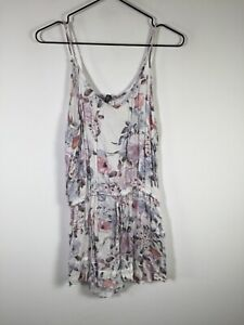 Forever New womens white floral playsuit romper size S sleeveless viscose
