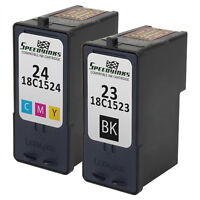 2PK For Lexmark Black (#23) Color (#24) Ink 18C1523, 18C1524 X4550 X3550 Z1420