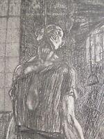Félicien ROPS (1833-1898) GRAVURE HOMME PENDU FORGE MACABRE DECADENTISME 1880