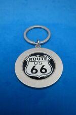 ROUTE 66 ROUND KEYRING SATIN NICKEL KEY RING CHAIN WHITE SHIELD #111