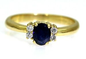 Quality Sapphire & Diamond 18ct Yellow Gold Cluster Ring size i ~ 4 1/2