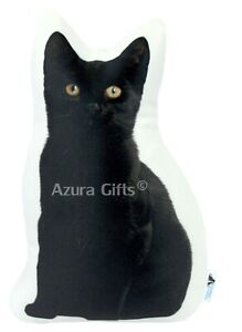 Black Bombay Shaped Cat Cushion, Handmade By Azura Gifts - Large