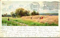 Vtg Postcard 1907 Artist Signed Harvest Scene German American Art Co. UDB