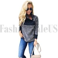 Fashion Women's Asymmetrical Snap Neck Long Sleeve Fleece Pullover Tops Sweater