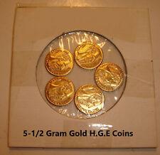 1865 MAXMILLANO MINIATURE GOLD 1/2 GRAM COINS H.G.E-[5 COINS!]#1