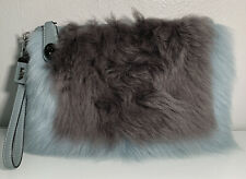 COACH Heather Shearling Turnlock Wristlet 26 Light Blue/Grey Wool Fur Clutch