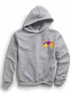 Champion Kids Double Dry Hoodie, Retro Colorblock (Front & Back)