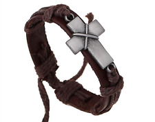 Genuine Leather Chunky Cross Cuff Bracelet - Blessed by Priest or Relic