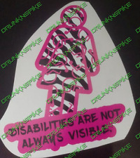 WOMAN DISABLED DISABILITIES  ARE NOT ALWAYS VISIBLE ZEBRA CAR STICKER  MOBILITY