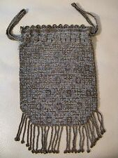 Antique Art Nouveau Deco Gold Silver French Steel Micro Bead Drawstring Purse