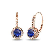 Created Blue Sapphire & White Topaz Leverback Earrings Rose Gold Plated Silver