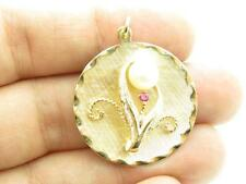14K Yellow Gold & Pearl Red Ruby Vintage Flower Design Disk Charm Pendant Gift