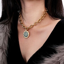 Punk Pendant Choker Green Stone Crystal Thick Chain Long Necklace Jewelr xd
