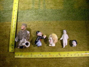 5 x excavated vintage unpainted damaged doll parts German Hertwig age 1890 14761