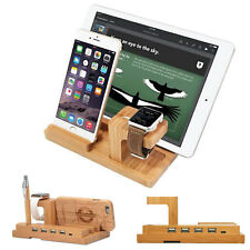 4in1 Bamboo Lade Station Für Apple Watch iphone ipad Halterung Dockingstation