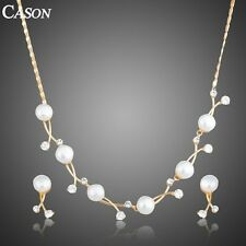 Women Pearl Wedding Jewelry Set Gold Plated Austrian Crystal Necklace Earring
