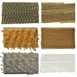 Vintage Style Pearl Beaded Lace Trim Edge Ribbons for Sewing Clothes Curtain 2m