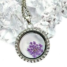 Purple Real Dried Flower Silver Plated And Rhinestones Glass Locket Necklace
