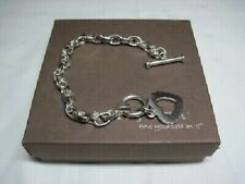 SiLPADA Sterling Silver Heart Cut Out Oval Link Rolo Toggle Bracelet B0992