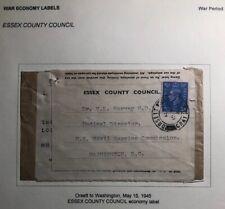1945 Orsett England County Council War Economy Label Cover To Washington Dc Usa