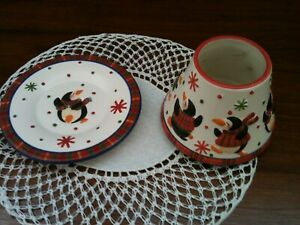YANKEE CANDLE - CHRISTMAS PENGUIN PARTY - SMALL CERAMIC SHADE & TRAY PLATE