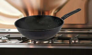 """Black Marble Carbon Steel Wok Chinese Non Stick Frying Pan 30cm 12"""""""