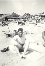 Vintage Large Real Photo- Semi Nude- Gay Interest- Man at The Beach- 1940s-50s