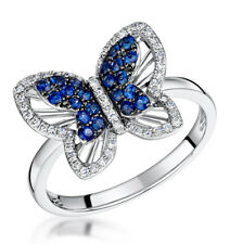 Sapphire Diamond Butterfly Ring White Gold Hallmarked Certificate