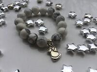 Damenarmband Armband Edelsteine handgefertigt Weihnachten Winter Hämatit