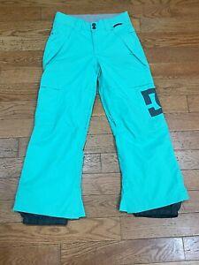 """DC Women's Snowboard Ski Snow Pants Sz M  Aqua Mint Green WATERPROOF 27"""" Inseam"""